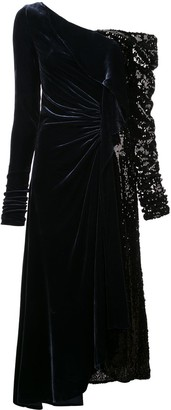 Monse Sequin-Panel Velvet Gown