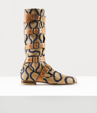 Vivienne Westwood Pirate Boot Squiggle Tan/Blue