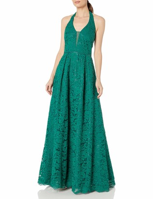 JS Collections Women's Lace Halter Ball Gown