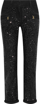 Balmain Cropped Sequined Mid-rise Slim-leg Jeans