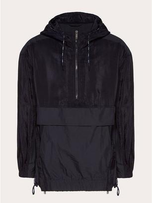 Valentino Men's Mixed-Nylon 1/2-Zip Hooded Anorak Jacket