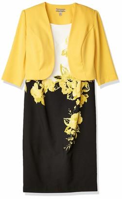 Maya Brooke Women's Placed Floral Jacket Dress