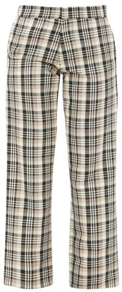 Edward Crutchley Checked Wool Tailored Trousers - Brown Multi