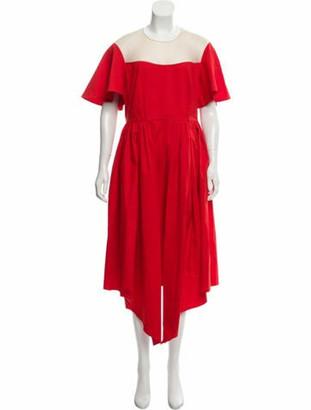 DELPOZO Handkerchief Midi Dress w/ Tags Red