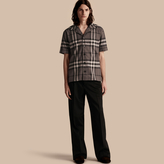 Burberry Short-sleeved Check Cotton Pyjama-style Shirt, Grey