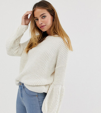 Asos DESIGN Petite cable bell sleeve jumper-Cream