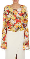 Acne Studios Women's Rose-Print Georgette T-Shirt-RED, NO COLOR