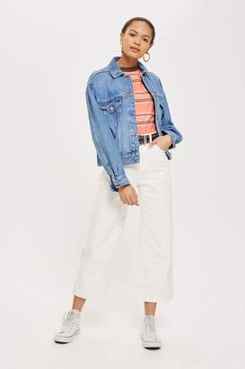 Topshop Womens Tall White Cropped Wide Leg Jeans - White