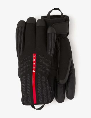 Prada Logo-embellished nylon and leather ski gloves