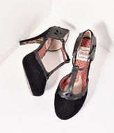Bettie Page Black Suede Lillian T-Strap Heels Shoes