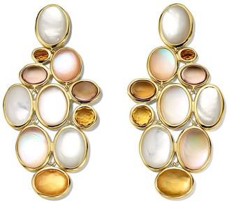 Ippolita 18kt yellow gold Rock Candy Luce stone cluster cascade earrings