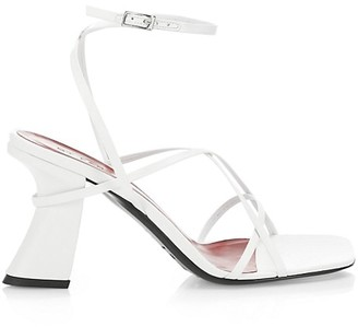 BY FAR Kersti Square-Toe Leather Sandals