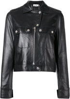 Courreges cropped biker jacket - women - Lamb Skin/Acetate/Cupro - 38