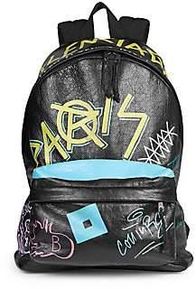 Balenciaga Men's Graffiti Explorer Leather Backpack