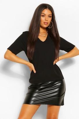 boohoo Faux Leather Contrast Shift Dress