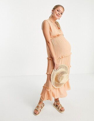 ASOS Maternity ASOS DESIGN Maternity sleeveless tiered crinkle maxi dress with lace inserts in peach