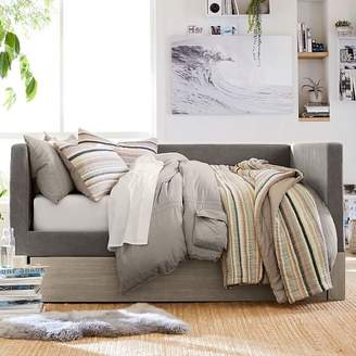 Pottery Barn Teen Bailey Daybed with Trundle, Full, Brushed Fog/Enzyme Washed Canvas Light Gray