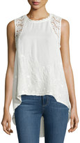 Romeo & Juliet Couture Woven High-Low Crochet Top, Beige
