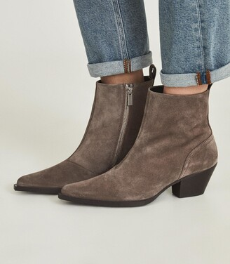 Reiss Hayworth Suede - Suede Western Ankle Boots in Sand