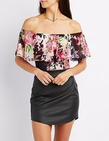 Charlotte Russe Floral Off-The-Shoulder Mesh Bodysuit