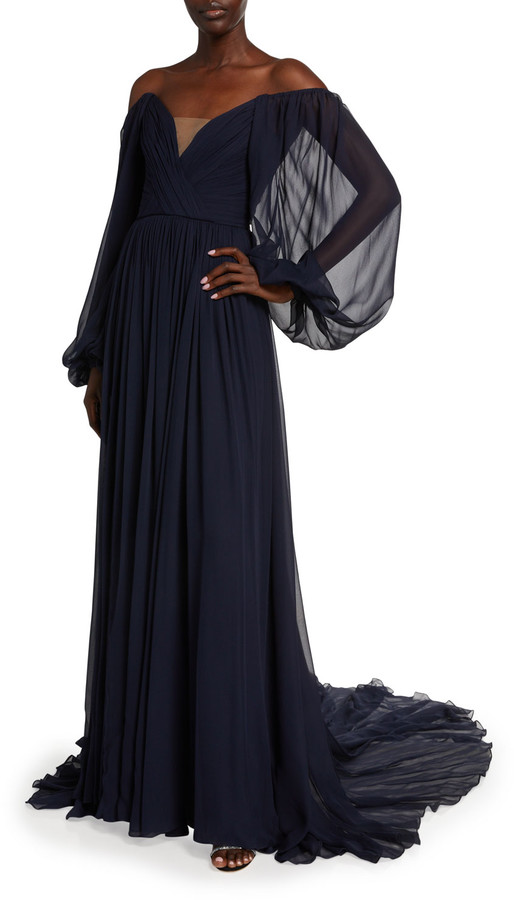 Monique Lhuillier Chiffon Off-the-Shoulder Draped Gown