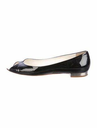 Chanel Patent Leather Peep-Toe Ballet Flats Black
