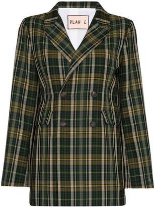 Plan C Double-Breasted Tartan Blazer