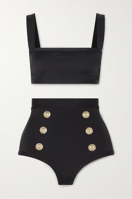 Balmain Button-embellished Bikini - Black