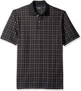 Arrow Men's Short Sleeve Printed Windowpane Oxford Polo Shirt