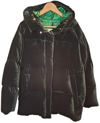 Moncler Hood Green Velvet Coats