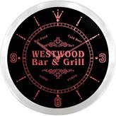 AdvPro Clock ncu48122-r WESTWOOD Family Name Bar & Grill Cold Beer Neon Sign LED Wall Clock