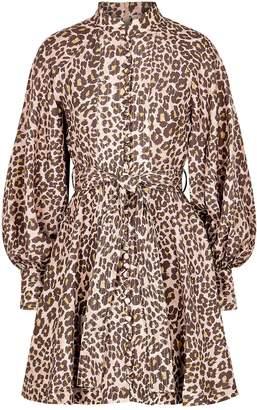 Zimmermann Sabotage Leopard-print Silk Mini Dress