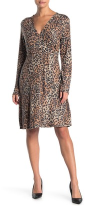 Spense Leopard Faux Wrap Dress