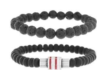 Ben Sherman Men's Black Stone Double Strand Stretch Bracelet Set with Stainless Steel White and Red Rondelle Beads