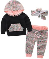 Scfcloth Infant Baby Boys Girls Autumn Warm Clothes Hoodie Tops +Long Pants +Headband Outfits Set (6-9 Months, )
