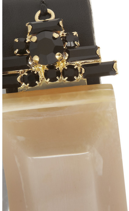 Marni Leather, horn and crystal bracelet