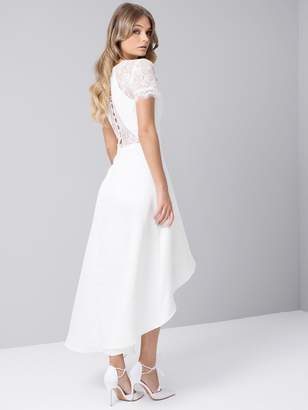 Chi Chi London Meara Lace Sleeve High Low Hem Dress - White