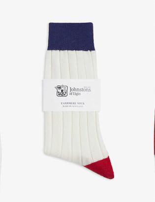 Johnstons Colour-block cashmere socks