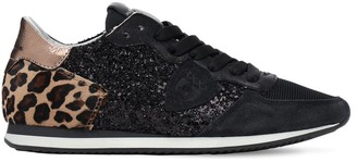 Philippe Model Glittered Leopard Lace-Up Sneakers