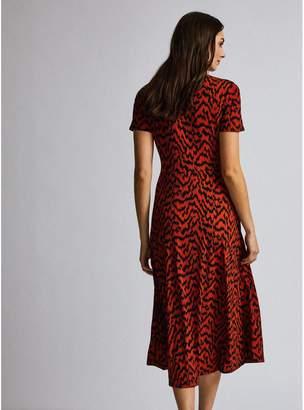Dorothy Perkins Twist Ikat Print Midi Dress - Red