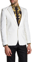 Versace White Sharkskin Single Button Peak Lapel Trim Fit Blazer