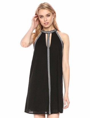 BCBGMAXAZRIA Azria Women's Striped Eyelet Halter Dress