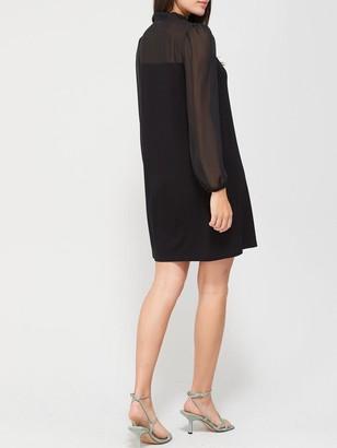 Very Chiffon Neck Bow Mini Dress - Black