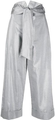 D-Exterior Metallic Sheen Cropped Trousers