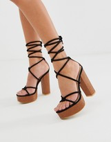 Public Desire Strut black tie up platform sandals