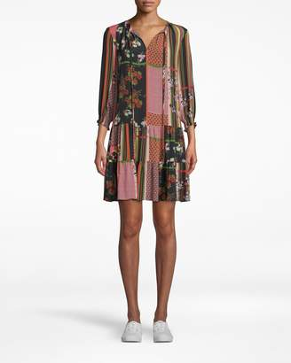 Nicole Miller Provence Floral Keyhole Tie Dress