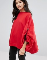 Daisy Street Oversized Sweatshirt With XL Rope Tie Sleeves