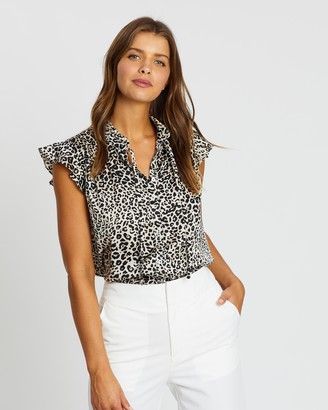 Atmos & Here Atmos&Here - Women's Black Shirts & Blouses - Ruffle Neck Button-Through Top - Size 6 at The Iconic