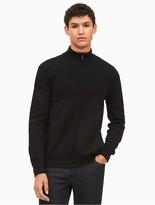 Calvin Klein Cotton Ribbed Block Zip Sweater