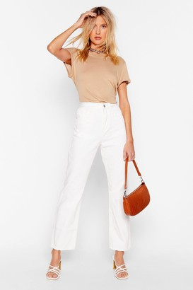 Nasty Gal Womens Zoe Cropped Straight Leg Jeans - White - 14